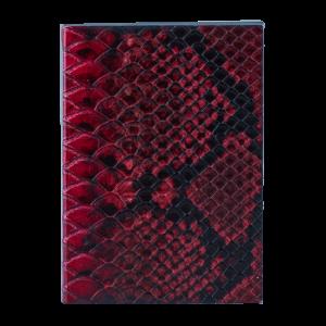caderno pele vermelho preta