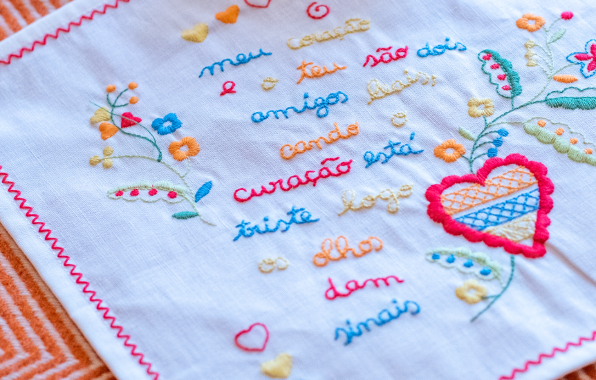 viana valentine's handkerchief alluding to Valentine's Day.